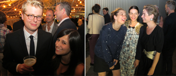 Left: Bonniers Konsthall curator Theo Ringborg with his wife, artist Meriç Algün Ringborg. Right: Galeri Non director Derya Demir, artist Ana Prvacki, and IASPIS director Lisa Rosendahl.