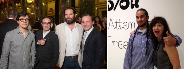 Left: Artist Gabriel Sierra with dealers Jose Kuri and Gavin Brown and Whitney Museum curator Scott Rothkopf. (Photo: Renee Rosensteel) Right: Bobby Jesus and Frances Stark. (Photo: Lauren O'Neill-Butler)