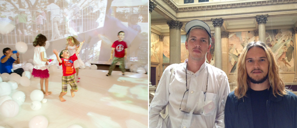 Left: Kids playing in work by Tezuka Architects. (Photo: Renee Rosensteel) Right: Artist Tobias Madison and Flavio Merlo. (Photo: Lauren O'Neill-Butler)