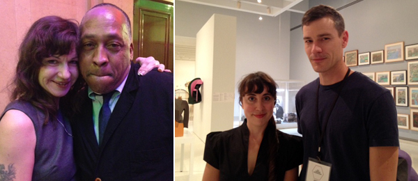 Left: Artists Frances Stark and Henry Taylor. Right: Tina Kukielski with artist Vincent Fecteau.