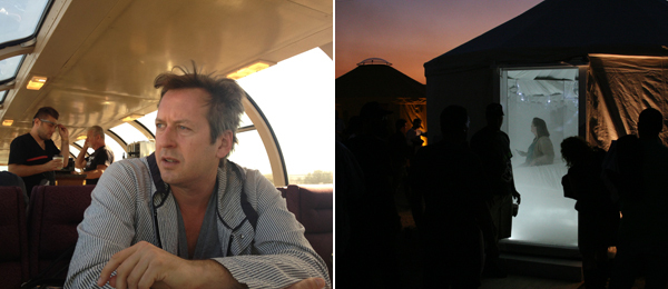 Left: Station to Station organizer and artist Doug Aitken. Right: Urs Fischer's yurt. (All photos: Travis Diehl)