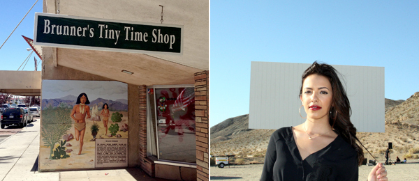 Left: A mural in downtown Barstow, California. Right: Miss Barstow 2012 Charli Burnett.