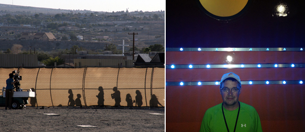 Left: Backstage at the Barstow Happening. Right: Train producer Adam Auxier.