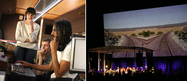 Left: Sara Rara and Luke Fischbeck of Lucky Dragons in the Recording Car with producer Justin Stanley. Right: Beck with Fred Martin and his choir at the Barstow Happening.