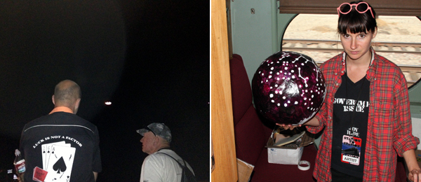 Left: Peter Coffin's UFO visits Barstow. Right: Artist Liz Glynn in her Station to Station studio.