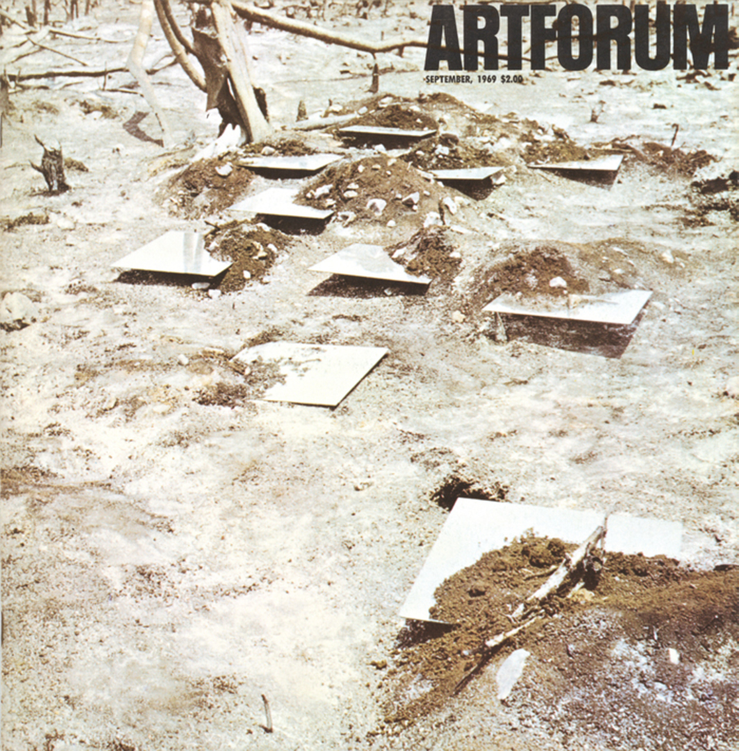 Cover of Artforum, September 1969. Robert Smithson, Yucatán Mirror Displacements (1-9) (detail), 1969.