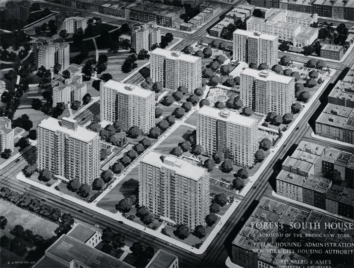 New York City Housing Authority rendering, ca. 1960.  Center: McKinley Houses (formerly Forest South Houses). Top left: Forest Houses.
