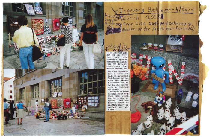 "Page from Thomas Hirschhorn's 33 Ausstellungen im Öffentlichen Raum, 1989–1998 (33 Exhibitions in Public Space, 1989–1998), 1999, booklet, 8 1/4 x 11 3/4"". All works by Thomas Hirschhorn © Artists Rights Society (ARS), New York/ADAGP, Paris."