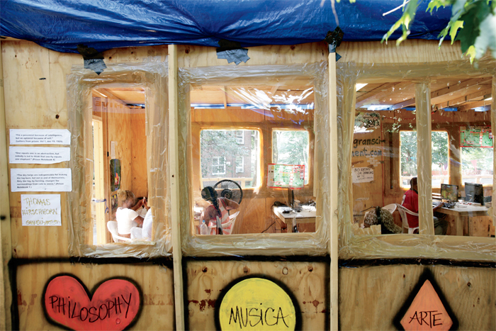 Internet Corner windows at Thomas Hirschhorn's Gramsci Monument, 2013, Forest Houses, Bronx, New York. Photo: Chandra Glick. All works by Thomas Hirschhorn © Artists Rights Society (ARS), New York/ADAGP, Paris.