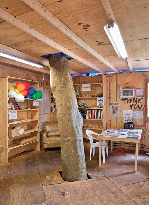 Interior of the Gramsci Library at Thomas Hirschhorn's Gramsci Monument, 2013, Forest Houses, Bronx, New York. Photo: Chandra Glick. All works by Thomas Hirschhorn © Artists Rights Society (ARS), New York/ADAGP, Paris.