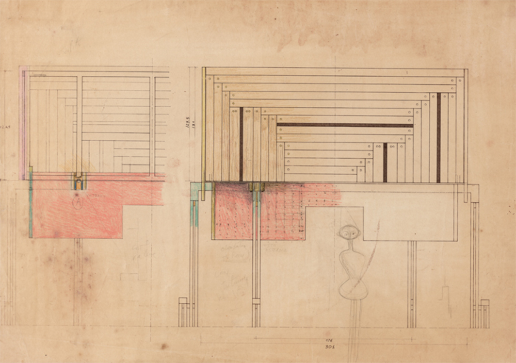 Carlo Scarpa, preliminary drawing, ca. 1970, for the Brion Tomb and Sanctuary, 1969–78, San Vito d'Altivole, Italy.