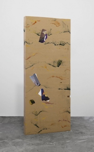 "A.K. Burns, Barrier Island (Overextended Stay), 2013, sand, resin, cayenne, bee pollen, spirulina, beet powder, catalogue pages, bamboo, 78 1/4 x 32 x 3 1/2""."