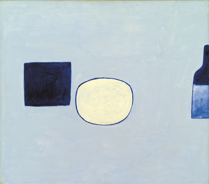 "William Scott, Poem for a Jug, No. 21, 1980, oil on canvas, 32 x 36""."