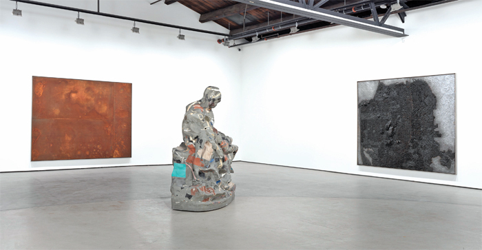 "View of ""Matthew Day Jackson,"" 2013. From left: Nearside (rust), 2013; Pieta, 2013; August 6, 1945, 2013."