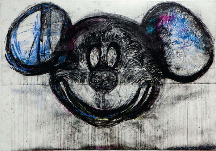 "Joyce Pensato, Santa Monica Mickey, 2013, charcoal and pastel on paper, 9' 1"" x 13' 2""."