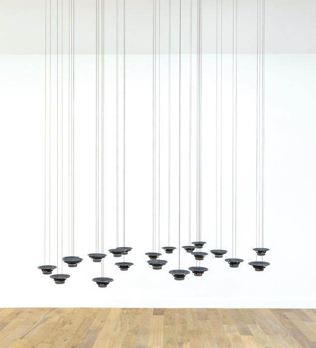 Rolf Julius, Cloud, 2007, twenty-two speakers, graphite, audio, CD player, dimensions variable.
