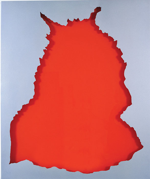 Jean-Marc Bustamante, Trophée 2, 2005, painted steel, aluminum powder, varnish, and ink on Plexiglas, 50 3/8 x