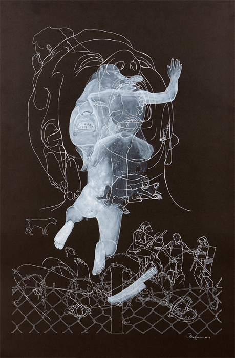 "Anisuzzaman Sohel, Leap Across Time 1, 2013, pen and acrylic on paper, 30 x 20"". From ""Barbed Floss."""