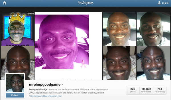 Screenshot of @MrPimpGoodGame's Instagram homepage, October 24, 2013.