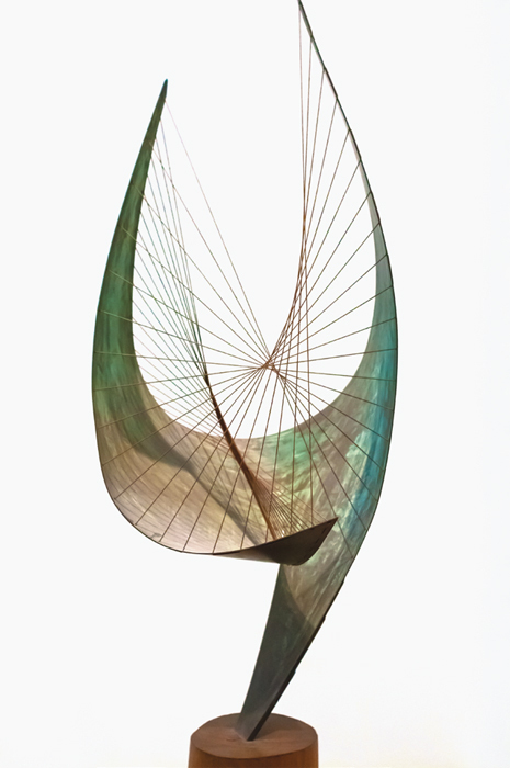 "*Barbara Hepworth, _Orpheus (Maquette 2) (Version II)_, 1959*, brass, cotton string, wood, 45 1/4 x 17 x 16 3/8""."