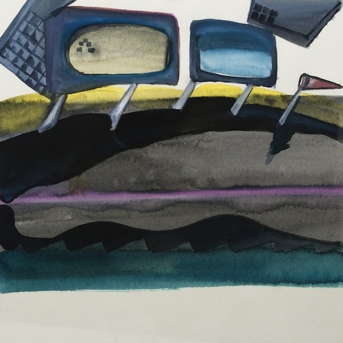 "Inci Furni, The Single Bed (Diary) - Night Journey, 2012–13, watercolor on paper, 9 x 9""."