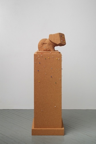 "Paul Ramírez Jonas, Ventriloquist V, 2013, cork, push pins, notes contributed by the public, 69 3/4 x 18 1/8 x 18 1/8""."