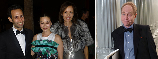 Left: Artist Alex Israel, China Chow, and dealer Almine Rech. Right: Magician Teller.