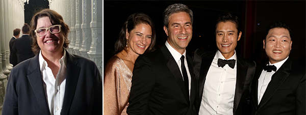 Left: Artist Catherine Opie. Right: Katherine Ross, LACMA director Michael Govan, Byung-hun Lee, and PSY. (Photo: Jeff Vespa/Getty Images)