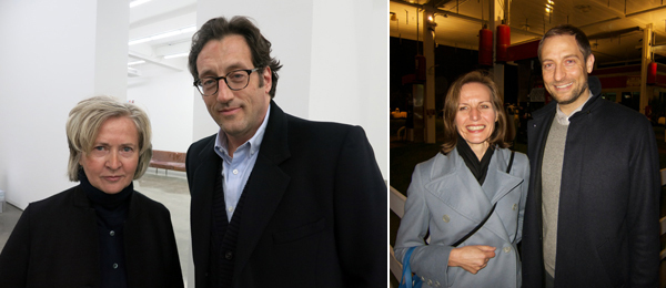 Left: Artists Rosemarie Trockel and T. J. Wilcox. Right: Museum der Moderne Salzburg director Sabine Breitwieser with MoMA chief curator of media and performance Stuart Comer.
