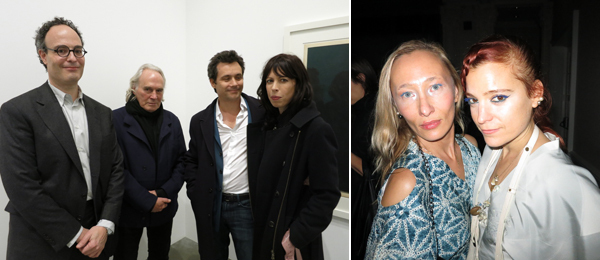 Left: Dealer Matthew Marks with artist Brice Marden, architecture critic Nicolai Ourrossoff, and artist Cecily Brown. Right: Designers Ange and Adi Gil from threeASFOUR.