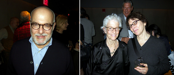 Left: Dealer Jay Gorney. Right: Artist Joan Jonas with Whitney Museum curator Elisabeth Sussman.