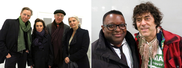 Left: Met Museum conservator Pete Dandridge with artist Pat Steir, publisher Joost Elffers, and designer Suzanne Shaker. Right: Artists Isaac Julien and Rainer Ganahl.