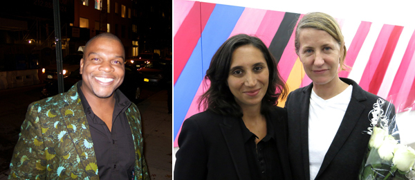 Left: Artist Kehinde Wiley. Right: Dealer Michele Maccarone and artist Ann Craven.