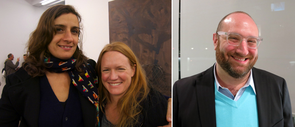 Left: Artists Eileen Quinlan and Anne Collier. Right: Dealer Alexander Gray.