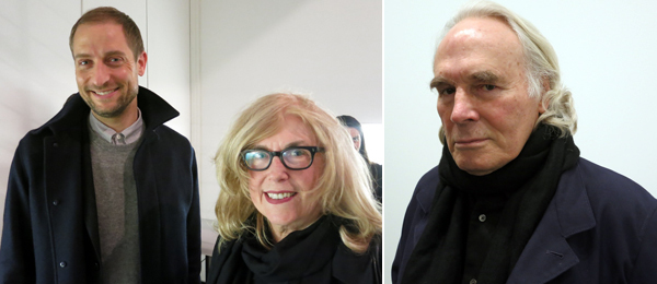 Left: MoMA chief curator of media and performance Stuart Comer with artist Judith Barry. Right: Artist Brice Marden.