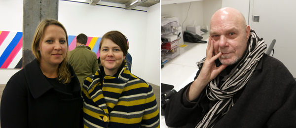 Left: Frieze Projects curator Nicola Lees with editor/writer Katherine Madden. Right: Artist Barry Le Va.