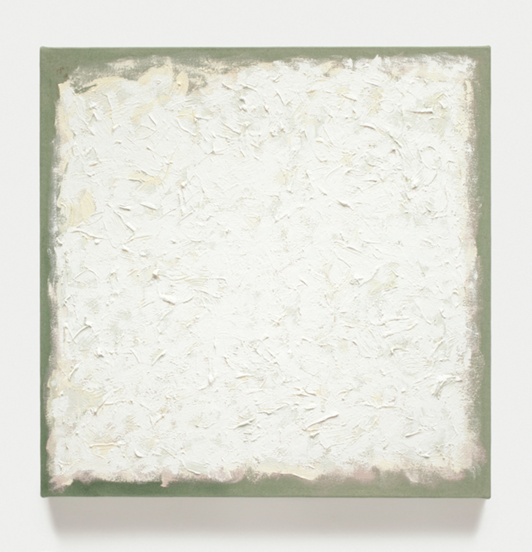"Robert Ryman, Untitled, 2010, oil on stretched-cotton canvas, 22 x 22""."
