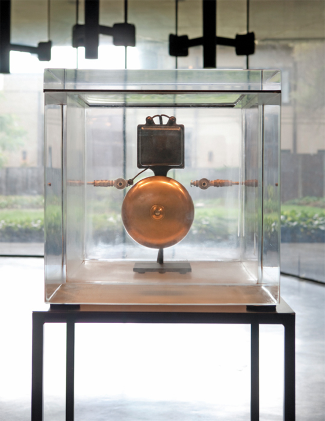 "Zarouhie Abdalian, As a demonstration, 2013, acrylic vacuum chamber, electric bell, steel, 58 x 24 x 27""."