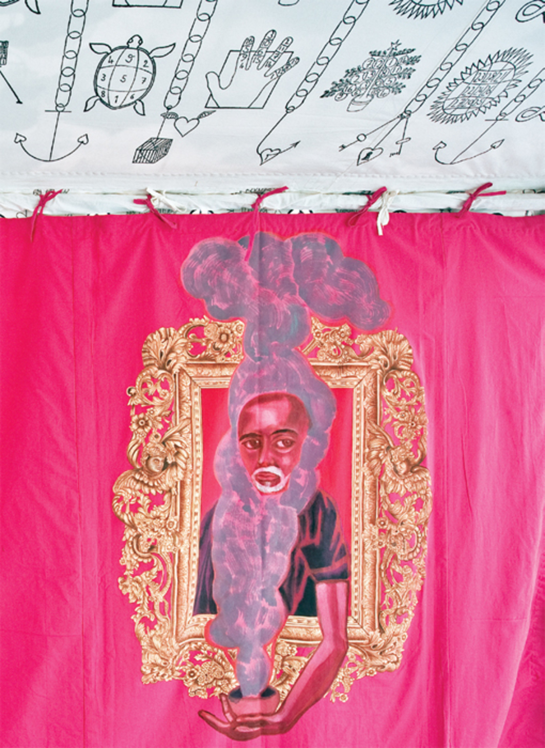 "Francesco Clemente, Museum Tent (detail), 2012–13, tempera on cotton and mixed media, 19' 8"" x 13' 1"" x 9' 10""."