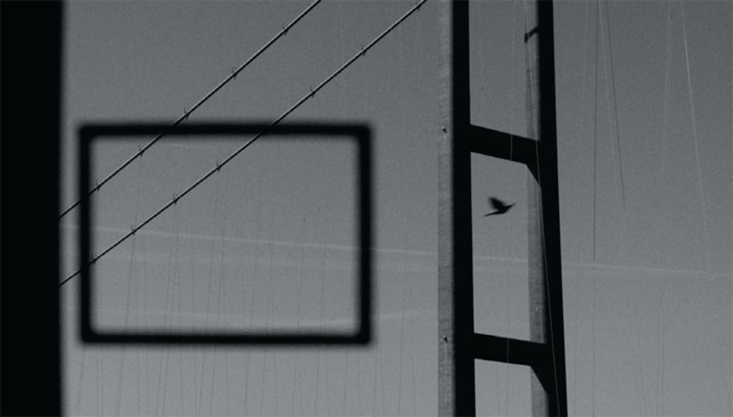 Niamh O'Malley, Bridge, 2009, digital video, black-and-white, silent, 7 minutes 39 seconds, projected onto black poly-cotton screen, dimensions variable. Ballina Arts Centre.