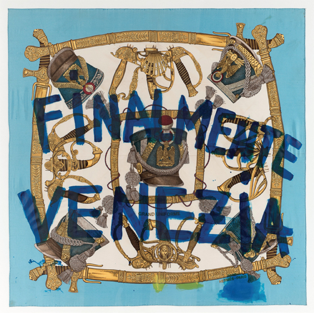 "Piero Golia, Finalmente Venezia (Grand Uniforme), 2013, acrylic paint on silk, 59 x 59""."