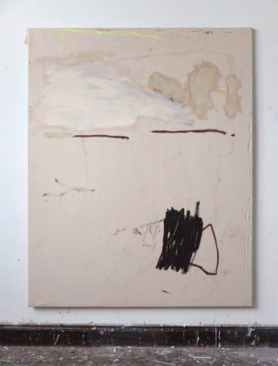 "Viktor Korol, Look On, 2012, oil stick, oil paint, permanent marker, and acrylic on canvas, 78 3/4 x 63""."