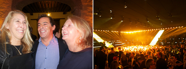 Left: New Museum director Lisa Phillips, collector Eugenio López, and curator Julie Sylvester. Right: The party for the Museo Jumex. (Except where noted, all photos: Linda Yablonsky)