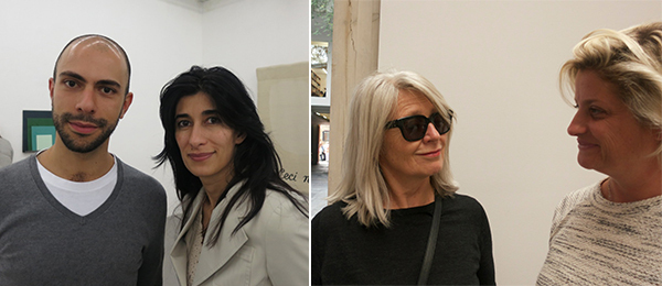Left: Dealer Felipe Dmab and curator Abaseh Mirvali. Right: Dealers Monika Sprüth and Sarah Watson.