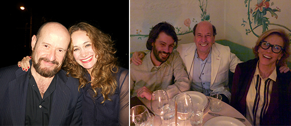 Left: ARCO Madrid managing director Carlos Urroz and NMAC Foundation director Jimena Blázquez. Right: Dealer Fernando Mesta with art advisors Ethan Wagner and Thea Westreich.
