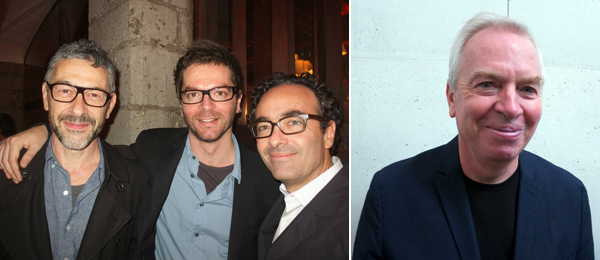Left: Artists Pierre Huyghe and Anri Sala with Jose Kuri. Right: Architect David Chipperfield.
