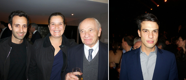 Left: Alex Israel, Carla Verea, and Pedro Friedeberg. Right: Swiss Institute director Simon Castets.