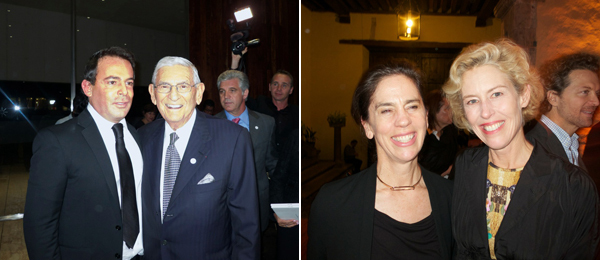 Left: Eugenio López and Eli Broad. Right: UCLA Hammer curator Connie Butler and dealer Tracy Williams.