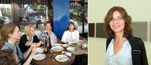 Left: Dealers Laura Mitterand, Lucy Mitchell-Innes, and Eva Presenhuber with curator Patricia Martin at Contramar. Right: Dealer Stefania Bortolami.