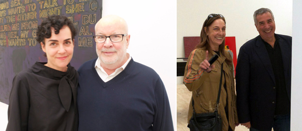 Left: Rosalie Benitez with curator Richard Flood. Right: Collectors Shelly Fox Aarons and Phil Aarons.